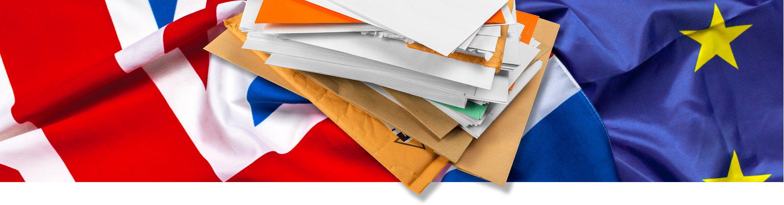 Union flag and expat letters from a virtual UK address